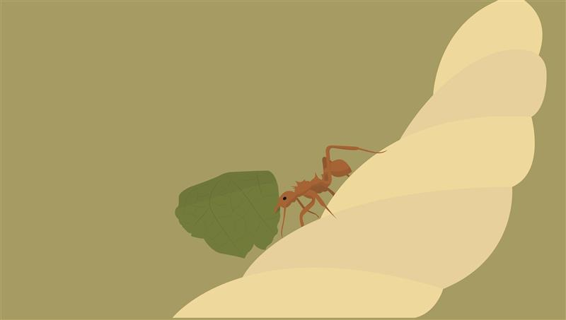 (NRP-227) Cartoon of a leafcutter ant carrying a leaf